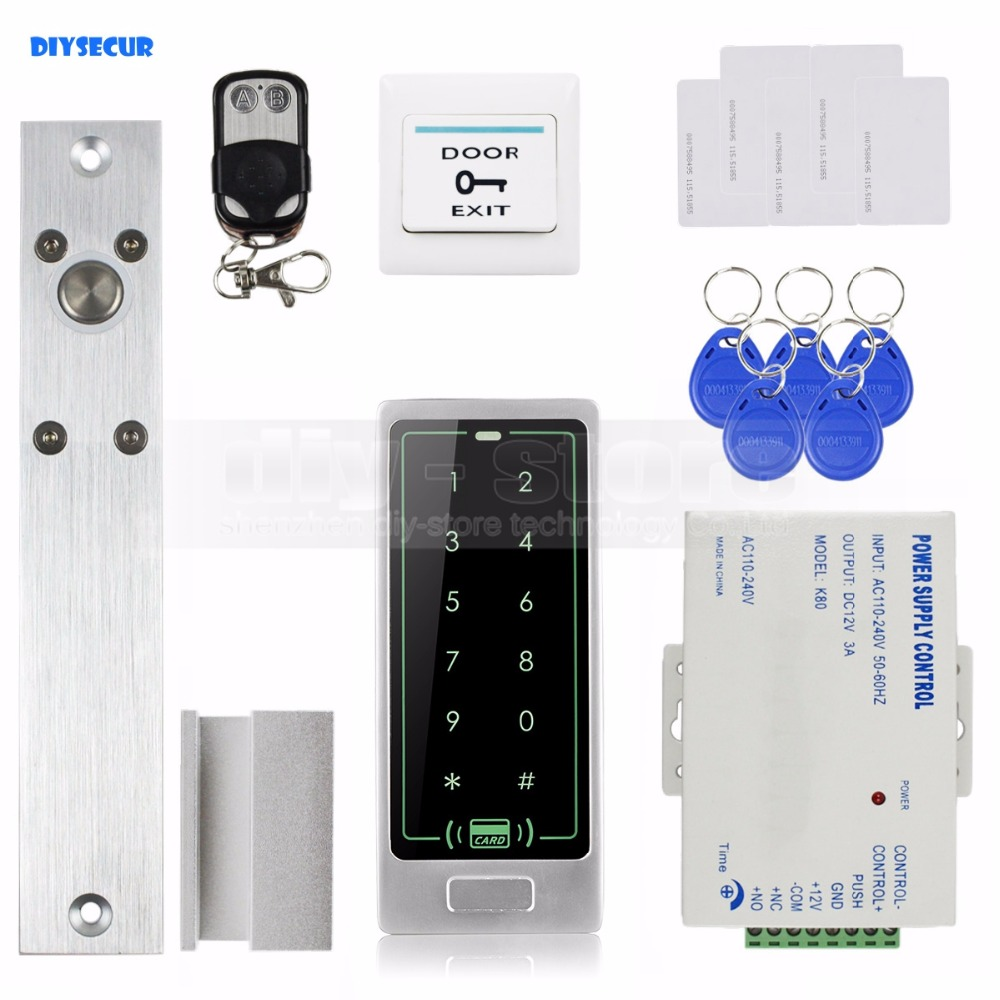 DIYSECUR Remote Control Electric Bolt Lock RFID Touch Reader Password Keypad Door Access Control Security System Kit diysecur touch panel rfid reader password keypad door access control security system kit 180kg 350lb magnetic lock 8000 users