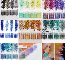 28 Colors Chunky Nail Flake Powder 10ml Mixed Flakes Glitter Paillette Tips Decorations 1box Holographic 10ml#