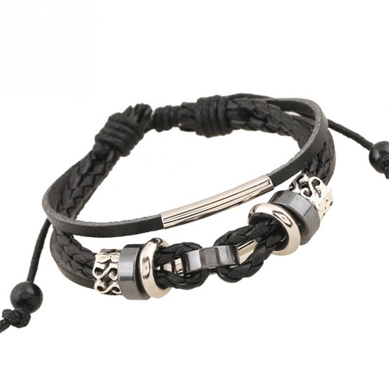 Black Color Men's Multilayer Classic Adjustable PU Strap Lovely String Alloy Beads Knitted Bracelet Jewelry Gift Jewellery
