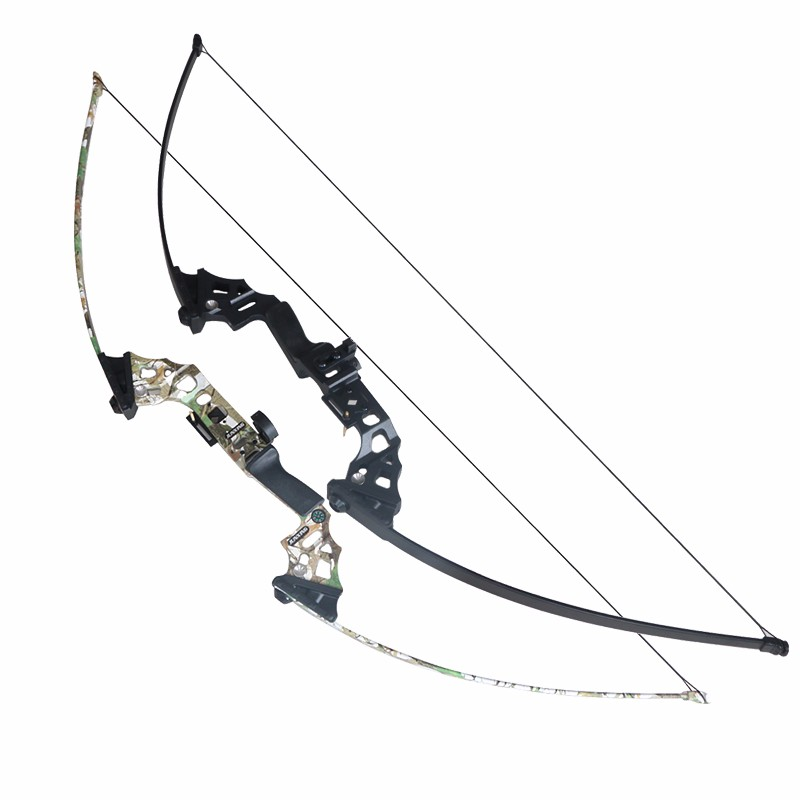 40lbs Archery Hunting Bow 51inch Shooting Take Down Bow Black/Camo Hunting Bow for Adult Hunter Fishing Straight Bow shooting straight
