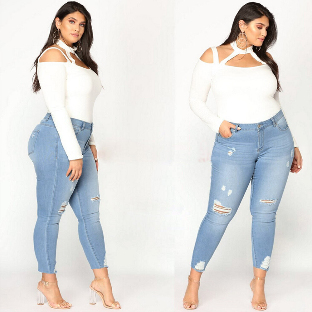 Jeans Women Plus Size 5XL Ripped Stretch Slim Soft And Comfortable Denim Skinny Jeans Pants High Waist Trousers