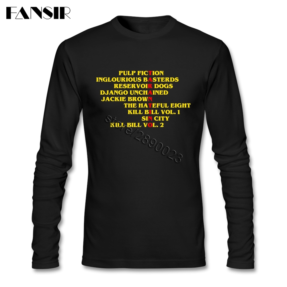 Quentin Tarantino Films T-shirts Men Male Long Sleeve Round Neck Cotton Normal Men Tee  Shirts Asian Size