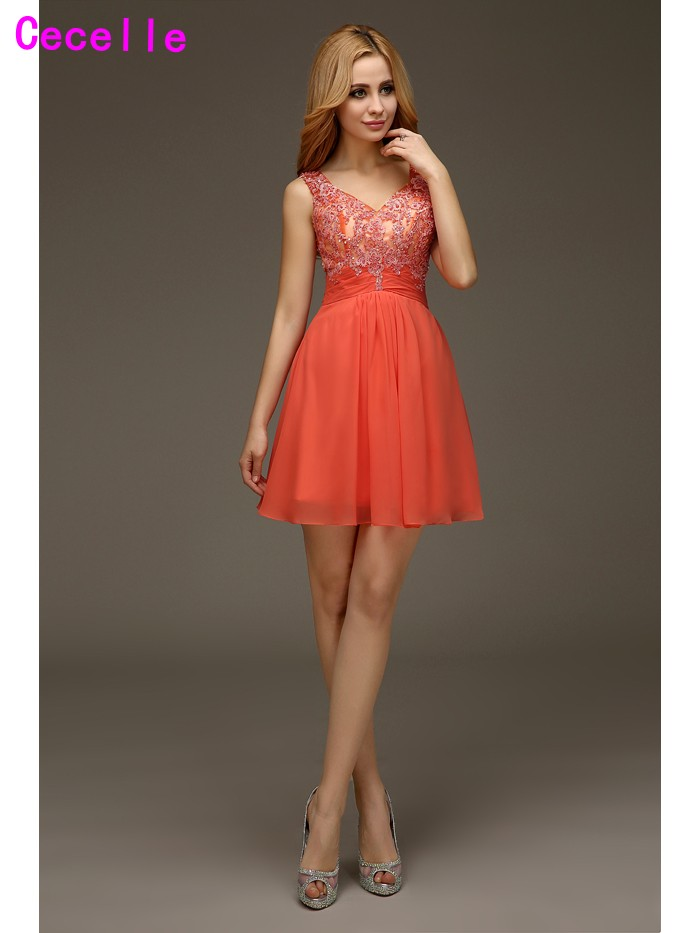 Real Cute Coral A-line Chiffon Casual Short   Cocktail     Dresses   With Straps for Juniors Beaded Lace Sexy Open Back Robe De   Cocktail