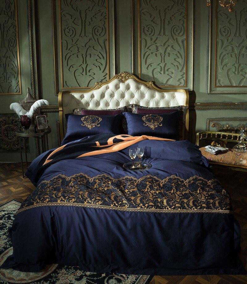 Bleu luxe dentelle broderie coton égyptien confortable ensemble de literie housse de couette linge de lit drap d'oreiller taies d'oreiller King Queen size