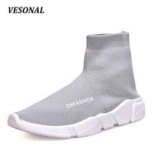 VESONAL High Top Men Casual Shoes Slip On Gumshoes Parejas Unisex Calcetín Masculino Moda Calzado Para Caminar Zapatos Para Hombre Transpirable 118