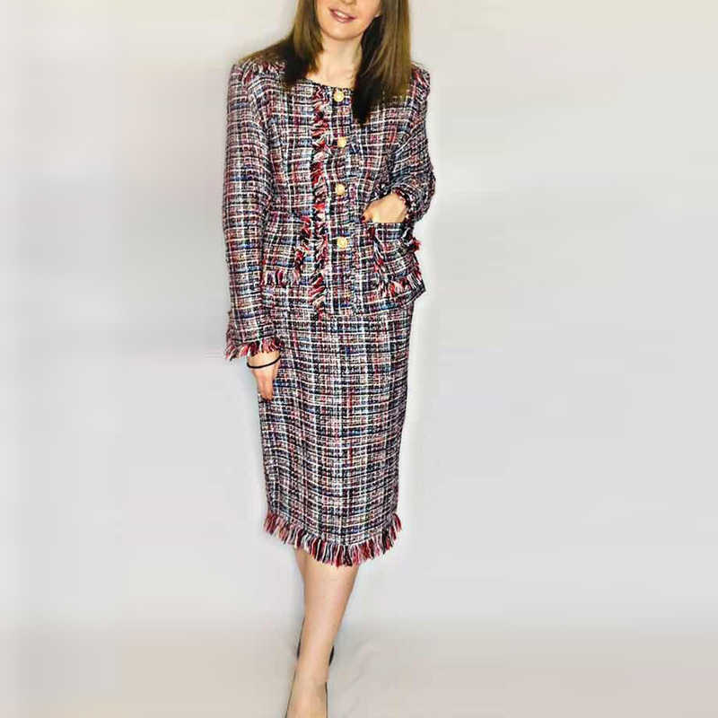 tweed jacket + skirt suit fashion woolen ladies 2 piece skirt suit 2019 spring / autumn / winter women's jacket suit