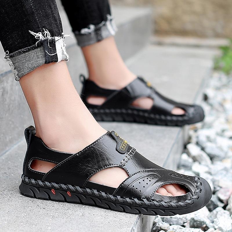 Homens Livre Sapatos Sandálias Bohemia Genuínos Chinelos Big Ar Ao Brown liaght 38 Lazer Size Brown Black Da De 48 Dos Couro dark Moda Verão P4 Praia dw8wItq