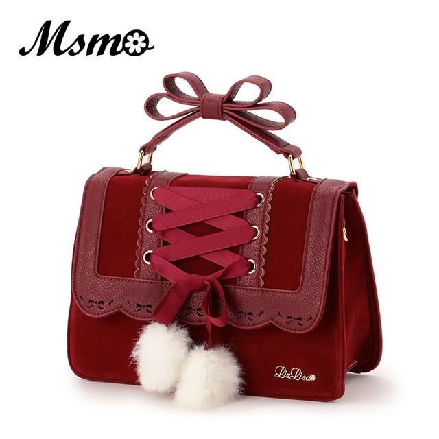 2017 New Fashion Liz Lisa Cute Bow Shoulder Bags Women Sweet Red Handbag Famous Brand Designer Girl Leather Shoulder Bag
