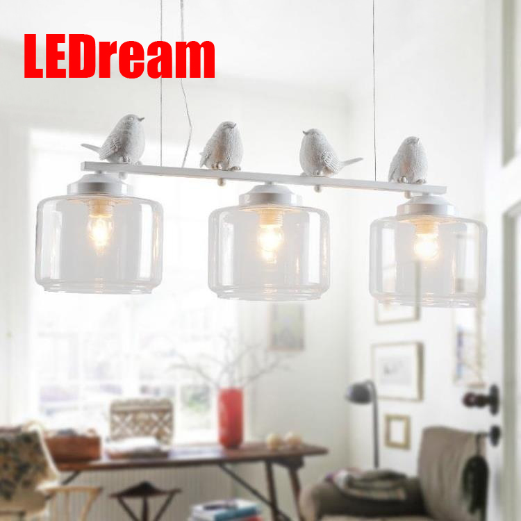 LEDream 3 head hotel bar E27 90-260V Modern resin Bird Iron Kitchen light fixture Hanging lamp with Glass Lampshades  decoration hotel harmony 3 прага