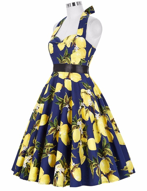 Womens Plus Size Clothing Halter Party Picnic Dress Pin Up Robe Rockabilly Swing Summer Women 50s Vintage Casual Dresses