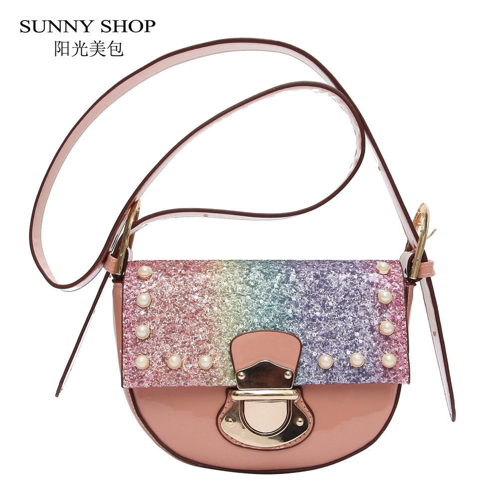 SUNNY SHOP Fashion Pearl Stars Sequin Bling Bags For Women 2018 Saddle Lady Mini Beach Sling Bags PU Leather Shoulder Bags Pink