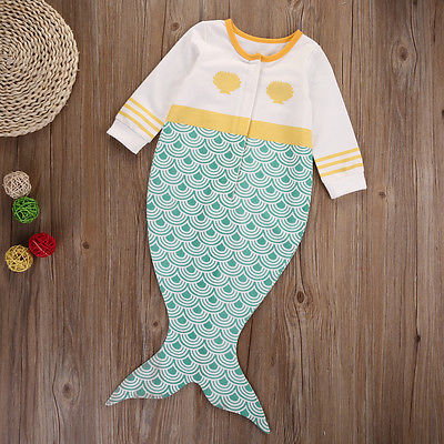 Newborn Kids Baby Boy Girls Infant Mermaid Long Sleeve Romper Jumpsuit Cotton Clothes Outfit 0-18M newborn infant baby girls boys rompers long sleeve cotton casual romper jumpsuit baby boy girl outfit costume
