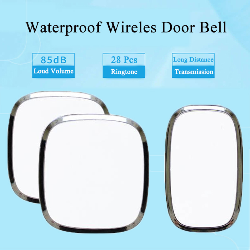 New EU/US Plug-in Waterproof Wireless DoorBell LED Light Door bell 220V With 1 Outdoor Ring Bell Button + 2 Indoor Receivers цена