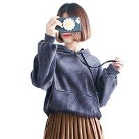2018 Spring Korea Hooded Sweatshirt Women Winter Fleece Velvet Hoodies Harajuku Brand Velour Pullovers Ladies Casual Warm Tops