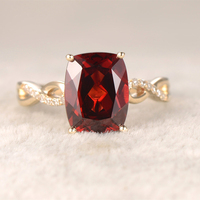 Cushion Natural Garnet Engagement Ring Loop Curved Wedding Band 14K Yellow Gold Red Stone Promise Ring