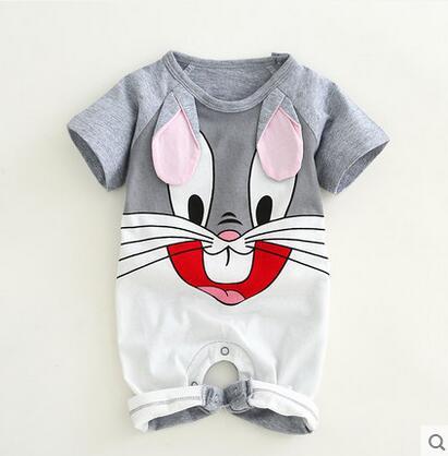 Для новорожденных хлопковый комбинезон с милыми заячьими ушками для маленьких мальчиков и девочек с коротким рукавом детский костюм комби... ...