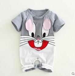 الوليد سالوبيت قطني للأطفال جميل آذان أرنب طفل رضيع الفتيات قصيرة الأكمام الطفل زي حللا Roupas Bebes الرضع الملابس