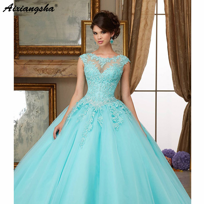 b2e40174dc8 Turquoise Puffy 2019 Cheap Quinceanera Dresses Ball Gown Cap Sleeves Tulle  Appliques Lace Crystals Sweet 16 Dresses