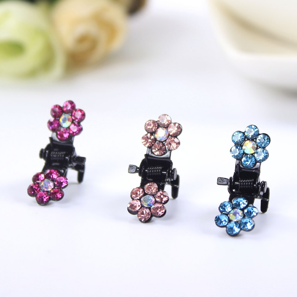 Cute Colorful Zirconia CZ Diamond Plum Five Flower Hair Claws