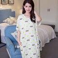 Verão vestido mulheres 2016 encantador dos desenhos animados de algodão de manga curta princesa Sleepwear camisola ocasional vestido sono pijamas moda mujer