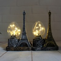 Retro Home Decor Resin Eiffel Tower Night Light Shop Cafe Props Display Handicraft Home Decoration Accessories Furnishing Craft