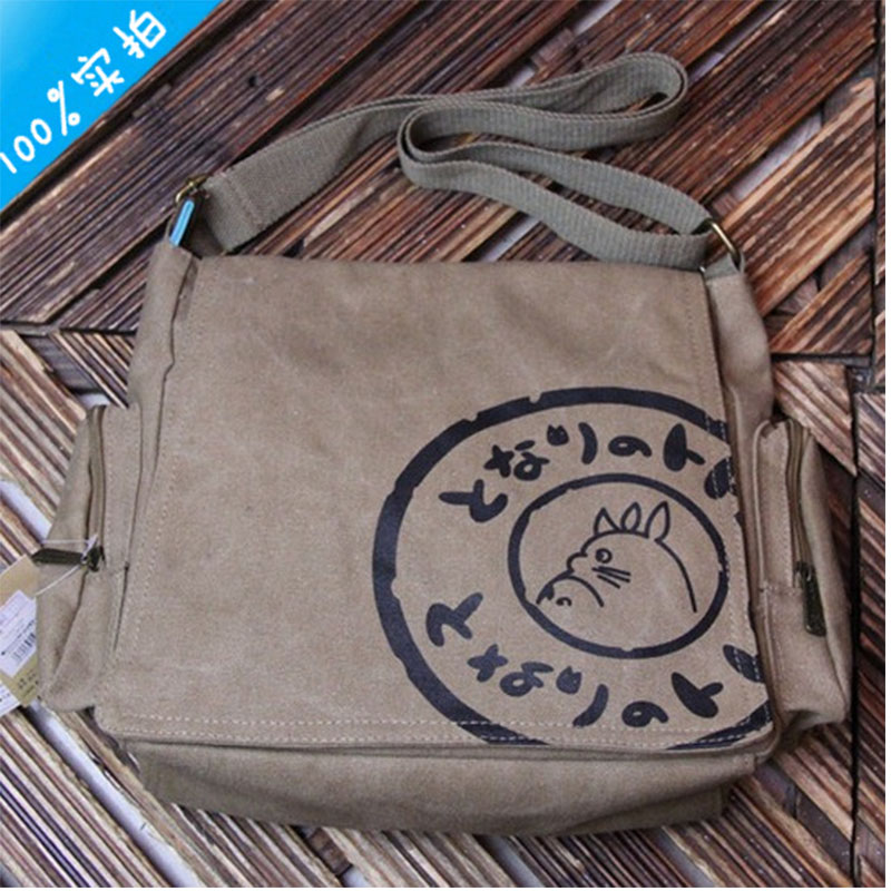 New 2016 Totoro My Neighbor Totoro Canvas Messenger Bags Cartoon Students Book Crossbody Bags with Mutiple