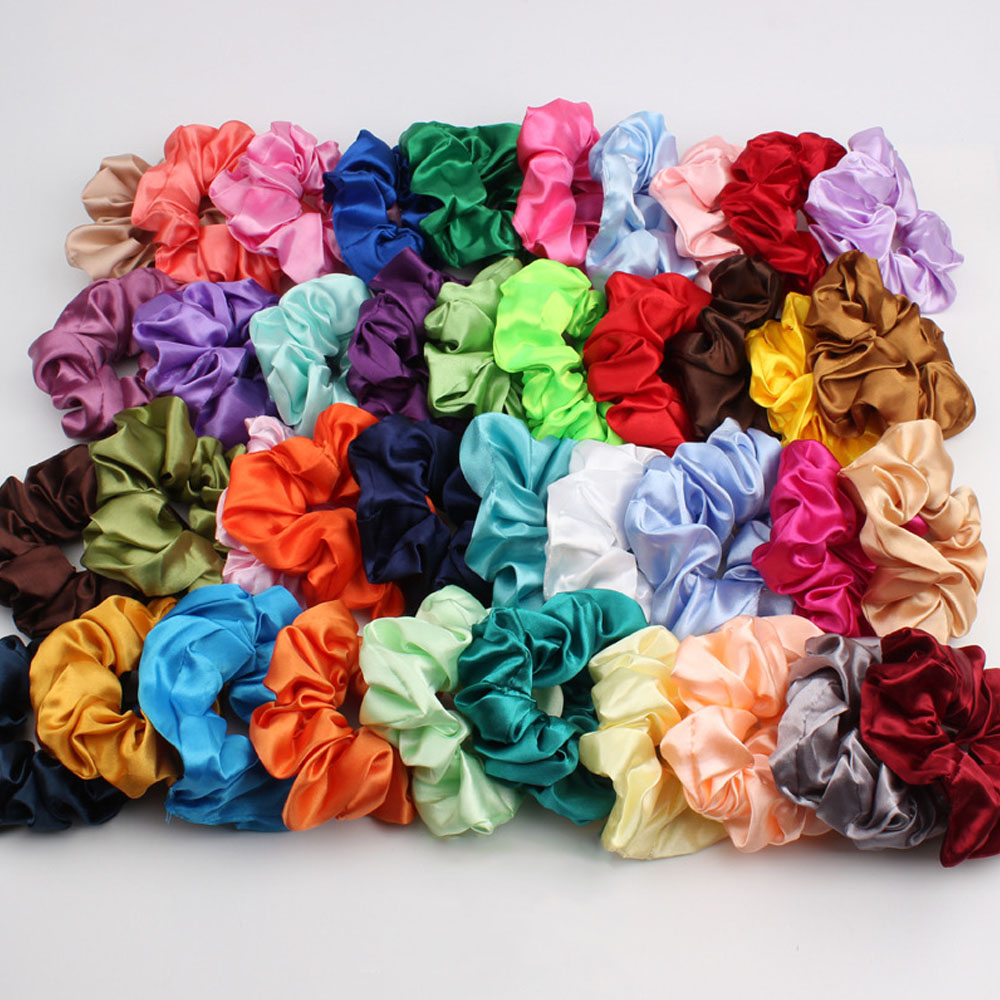 38 Colors Satin Scrunchies Women Girls Elastic Hair Bands   Headwear   Ponytail Holder Silky Hair Rope Ring Hair Accessories