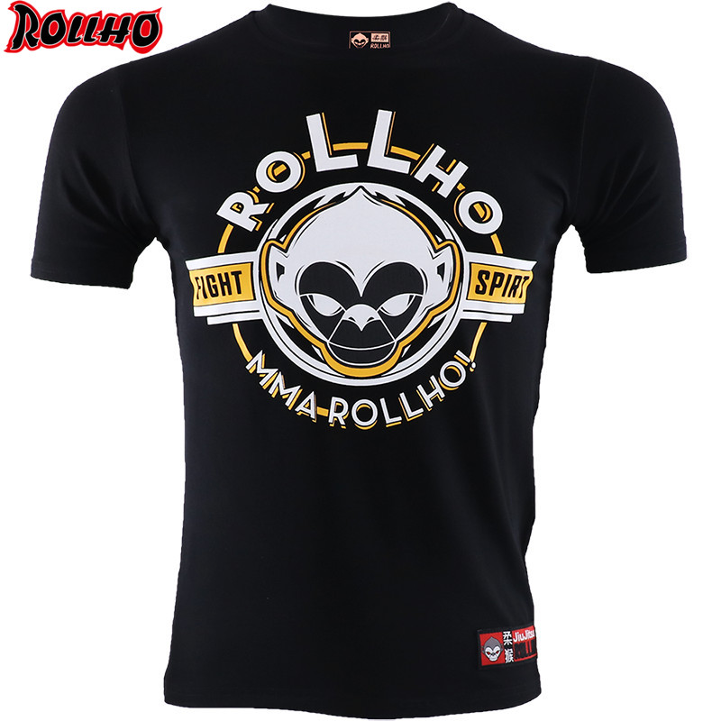 ROLLHO Fight Boxing Shogun Short Sleeve T Shirt Fighter Muay Thai MMA Fitness Sport Gym Shirts
