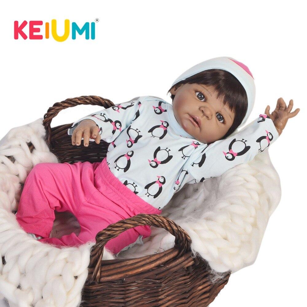 цены KEIUMI 23 Inch Ethnic Baby Reborn Silicone Full Body Realistic Reborn Baby Girl Dolls For Chil Gifts Kid Playmates Boneca Reborn