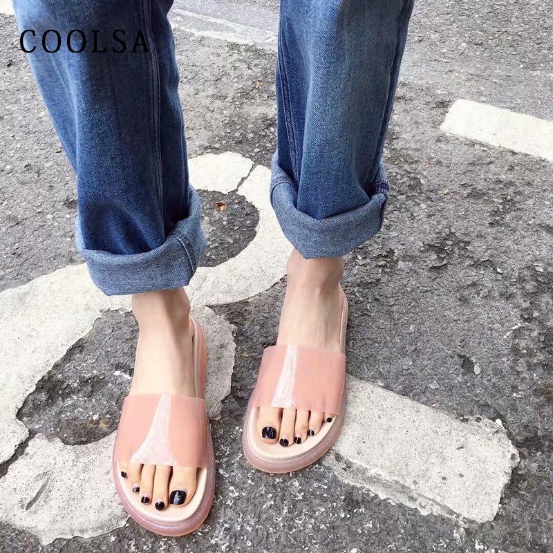 Summer Women Slippers Jelly Sandals Flat Transparent Slippers Clear Slides Non Slip Platform Flip Flop Fashion Casual Beach Shoe
