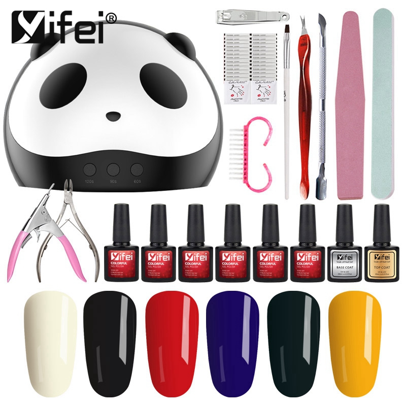 YIFEI Nail Set Kit 36W UV Led Lamp UV Gel Nail Tip Nail Tools Art Tools Nail Set Kit Manicure Set Of Tools Building Gel Set