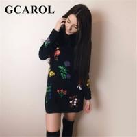 GCAROL New Autumn Winter Floral Printed Dress Stand Collar Full Sleeve Fashion Vintage Female Dress