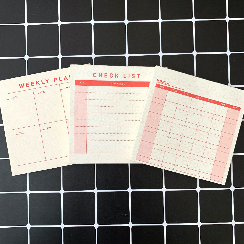 1X Simple Weekly Plan Monthly Plan Check List Memo Pads Sticky Notes Planner Paper Stickers Stationery School Office Supply