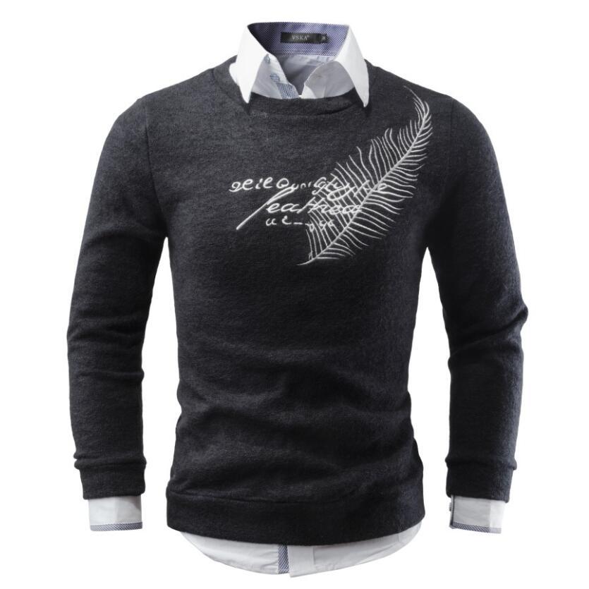 Для мужчин свитер 2017 бренд Круглый Средства ухода за кожей Шеи Свитеры для женщин модные Пуловеры для женщин зимние теплые Джемперы Перо Вышивка трикотаж плюс Размеры S-XXL