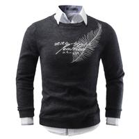 Men Sweater 2017 Brand Round Neck Sweaters Fashion Pullovers Winter Warm Jumpers Feather Embroidery Knitwear Plus