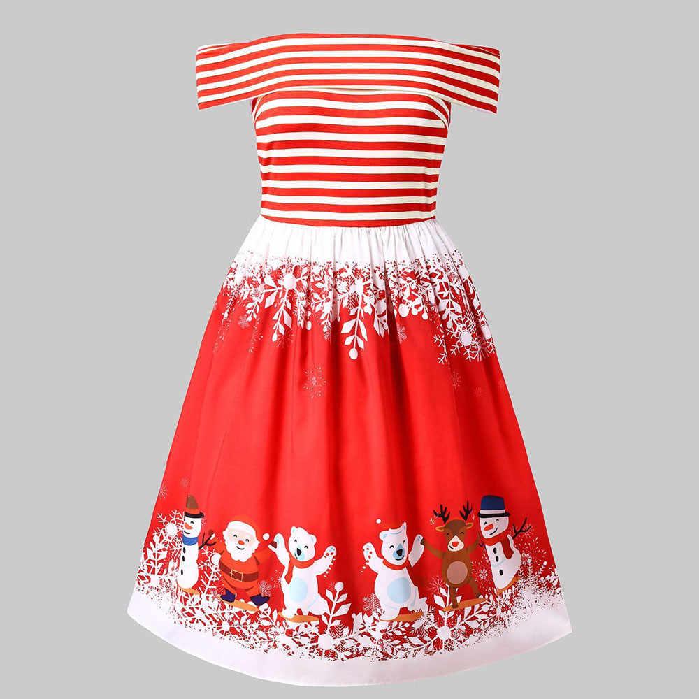 e6c8f05f3e3a6 Feitong Autumn Women Christmas Dress Sexy Off Shoulder Santa Claus Striped  Printed Evening Swing Mini Dress vestidos verano 2019