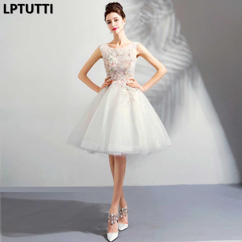 LPTUTTI אפליקציות רקמת חדש סקסי אישה חברתי חגיגי אלגנטי מפלגה לנשף רשמיות פנסי קצר יוקרה קוקטייל שמלות
