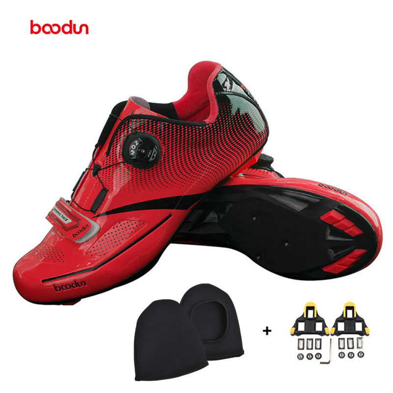 BOODUN red Cycling Shoes Outdoor Men Breathable Road Shoes Self-locking Bicycle Bike Shoes Wear-resistant Sapatos de ciclismo santic new design cycling shoes men outdoor road bike shoes self locking shoes non slip bicycle shoes sapatos with 3 colors
