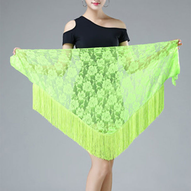 Blley Hips Scarf Lace Shawl Hip Triangle Towel Latin Dance Tassel Hip Scarf Fringed Waist Belly Dance Hip Triangular Bandage