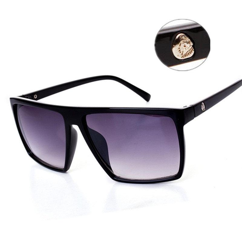 Vintage Steampunk Square Sunglasses Men SKULL Logo All Black Coating Sun Glasses Women Brand Designer Retro gafas de sol