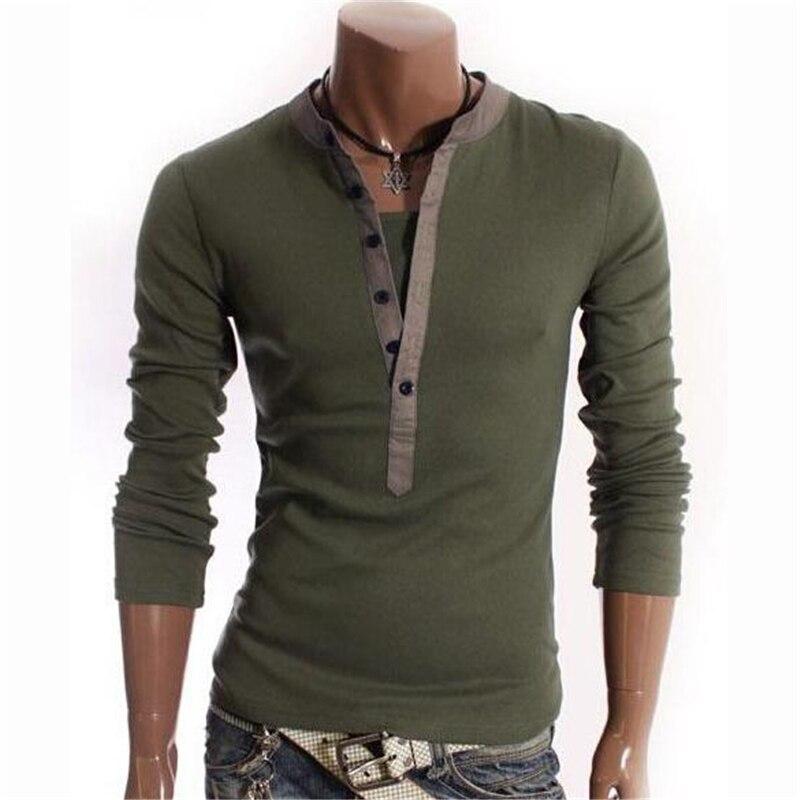 O Projeto original T Shirt Homens 2018 Brand New Botão Camiseta Homme V Long Neck Sleeve Henley Camisa Estilo Europeu T Camisa Homme