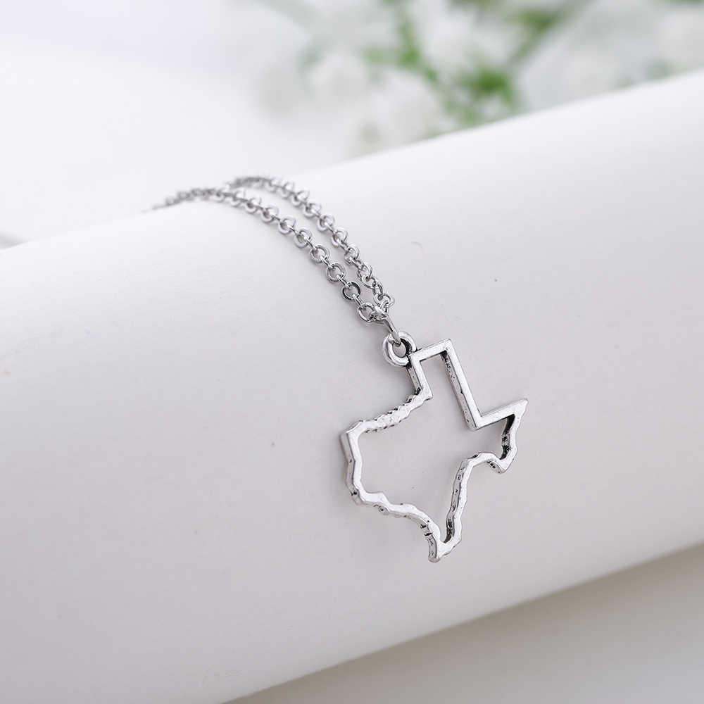 Mój kształt Texas Austin mapa Hollow naszyjnik złoty zarys mapy urok Link Chain naszyjniki akcesoria ze stopów cynku dla kobiet mężczyzn nowy