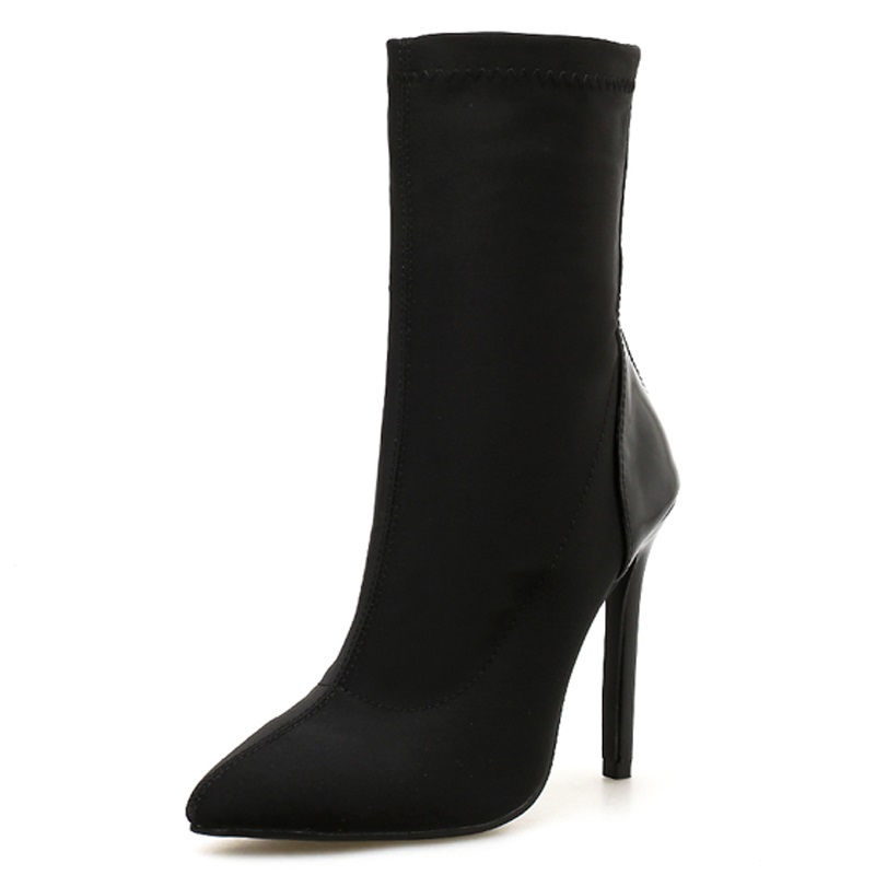 TINGHON New Autumn Women Boots Stretch Fabric Pointed toe Ankle Boots Thin Heels Sexy Pumps Women Boots shoes Size 35 42 in Ankle Boots from Shoes