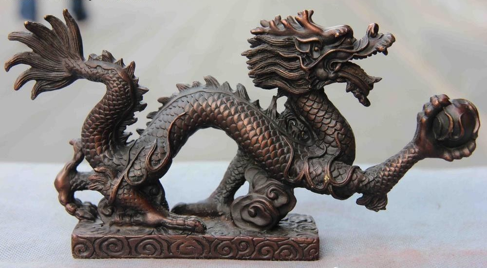 Chinese Fengshui Red Bronze Copper Lucky Wealth Fly Dragon Catch Bead StatueChinese Fengshui Red Bronze Copper Lucky Wealth Fly Dragon Catch Bead Statue