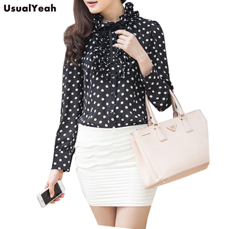 HTB1zB7dKVXXXXbDXXXXq6xXFXXXY - New 2017 Hot Fashion Korea Style Vintage Chiffon Polka Dots Women