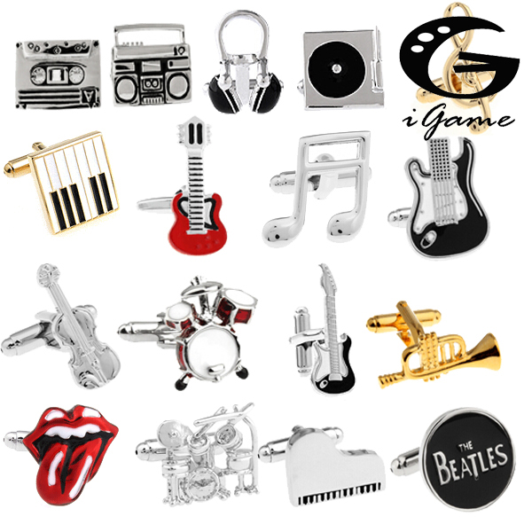 Free Shipping 18 Designs Guitar Cufflinks Music Design Musical Note Cuff Links Piano Bass Cuffs plus size bow piano music note dress