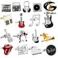 Free Shipping 18 Designs Guitar Cufflinks Music Design Musical Note Cuff Links Piano Bass Cuffs