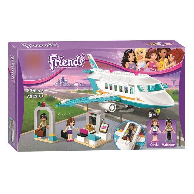 Menina Série Amigos Heartlake SY807 Mateus Olivia Private Jet Plane Building Block Tijolo Compatível Legoings 41100 Presentes Brinquedos
