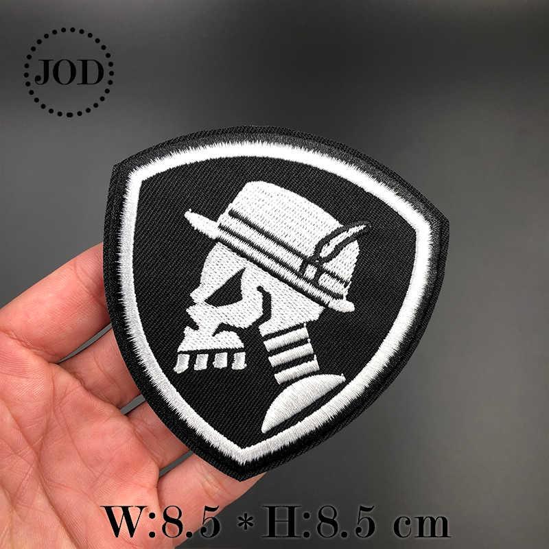 Punk Nero Militare Patch Ricamo stirare I Vestiti Toppe E Stemmi per l'abbigliamento Del Motociclista Del Cranio Distintivo Esercito di Ferro sul Trasferimento di Marca Adesivi