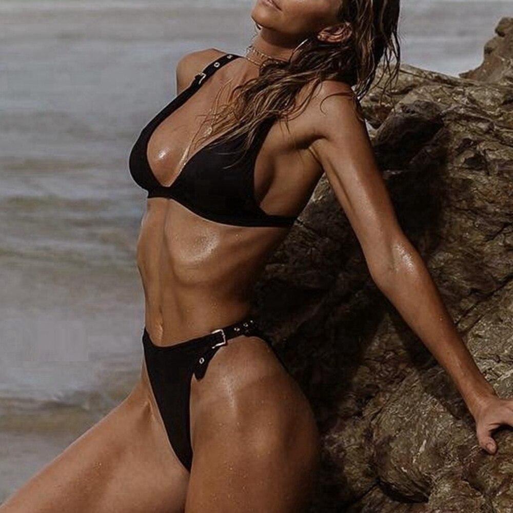 Black High Waist Bikini Thong Brazilian Bikini High Waisted Swimsuit Eyelet Swimwear Women Thong Bikinis High Leg Swimsuit Women